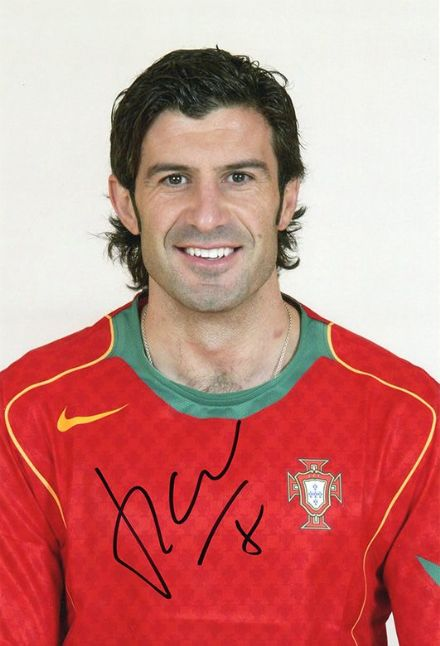 Luis Figo, Portugal, signed 12x8 inch photo.